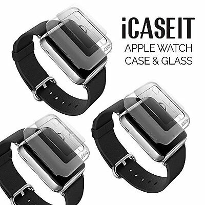 3X Clear Rugged Protective Case & Tempered Glass For Apple Watch 42mm IWatch