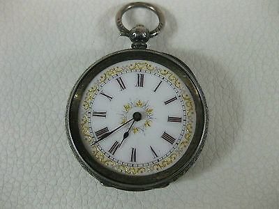 Antique Ladies Key Wind Pocket Watch Sterling Silver Case * Not Working *