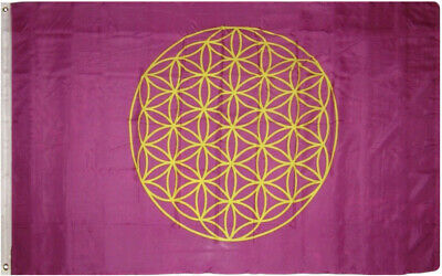 3x5 Flower of Life Pink Magenta Rough Tex Knitted flag 3'x5' Brass Grommets