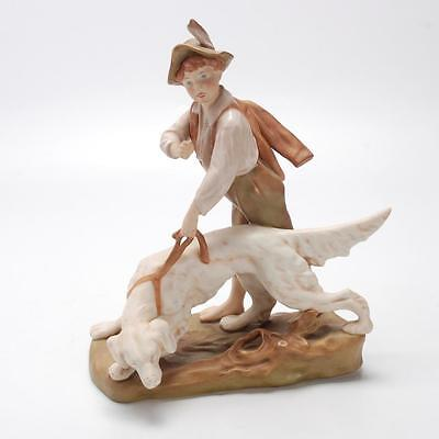Antique Royal Dux Figure Group Of Boy With Dog C. 1920