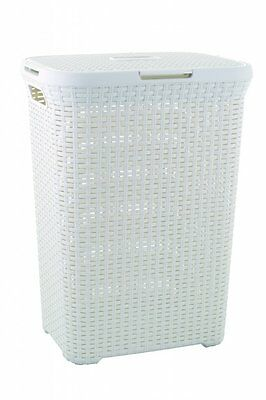 2 x CURVER Style Rattan Laundry Hamper, 60 L, White - 2 items