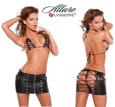 Completo in similpelle nera Lace Up Skirt e Bra Allure Lingerie Sexy shop erotic