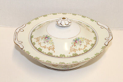 Vintage Imperial China Japan Round Covered Vegetable Serving Dish; Gold Flowers