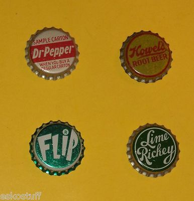 4 Soda Bottle caps - Flip, Lime Rickey, Howel's Root Beer, Dr Pepper Cork Inside