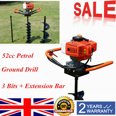 "52cc Hole Digger Post Earth Auger Posthole Fence Borer Petrol Drill 8"" bits uk"