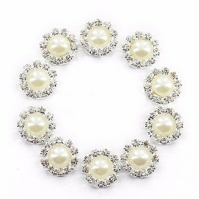 10 pcs Crystal Diamante Pearl Flatback Embellishment Wedding Craft Decor 14.5mm