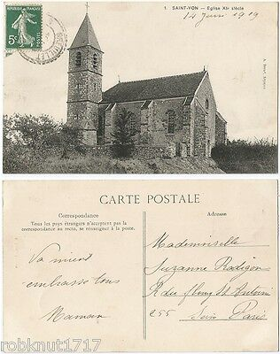 CPA Borné 1919 postcard Church Eglise SAINT YON 91 Essone [205 A]