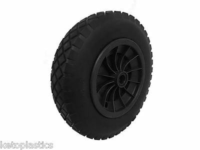 "PU 16"" Puncture Proof BLACK Wheelbarrow Wheel Tyre 4.80 -8 Foam filled 1"" BORE"