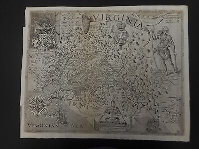 1612 John Smith Virginia Map Discovered and Discribed by Captain John Smith 1606