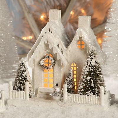"""Bethany Lowe White Christmas Village 9"""" House with Snowman"""