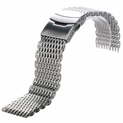 18/20/22/24mm Stainless Steel Dive Shark Mesh Milanese Watch Bracelet Strap Band