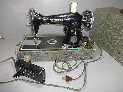 Vintage GENERAL PRECISION BUILT Sewing Machine w/ Carrying Case Japan