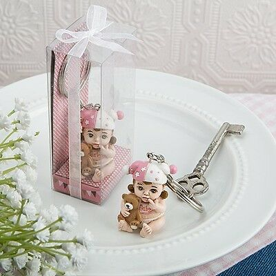 40 Vintage Baby Girl Key Rings Shower Party Gift Favors