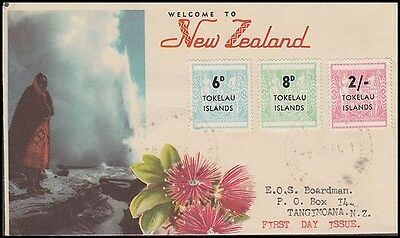 Tokelau New Zealand 1966 6D. To 2/- Arms Ovpts Illustrated Fdc (Id:181/d42162)