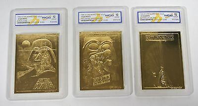 Star Wars Lot Set of 3 Cards 23KT 23 Karat Gold Card Sculptured Limited Edition