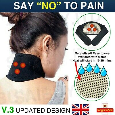 Self Heating Neck Wrap Heat Brace Support Strap Pain Ache Relief Collar Strain