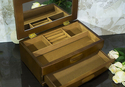 Wooden Jewellery Box Display Drawer with mirror Large Xmas Present NEW