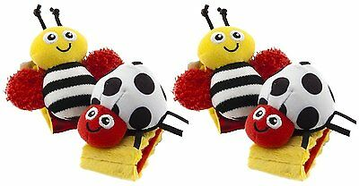 2 Pack Cute High Contrast Wrist Rattles for New Born, Baby, Child, Kid, Infant
