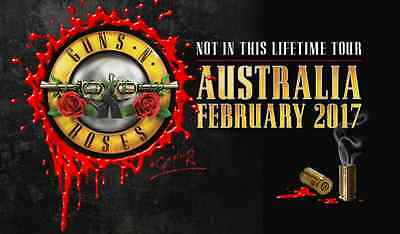 IRON ON TRANSFER or STICKER - GUNS N ROSES AUSTRALIAN TOUR 2017 NOT ON THIS LIFE