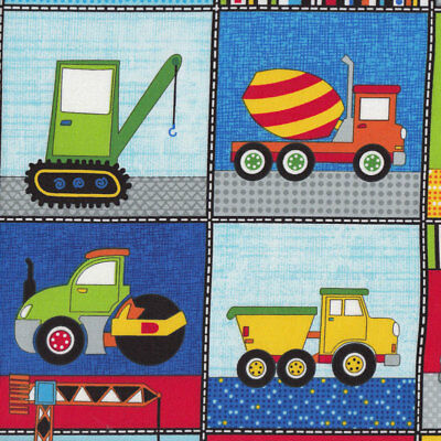 Construction Vehicles in Squares Boys Kids Quilt Fabric FQ or Metre *New*
