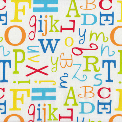 Alphabet Letters on White Boys Girls Kids Quilt Fabric FQ or Metre *New*