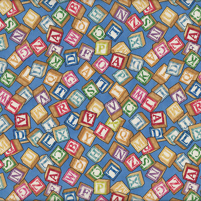 Alphabet Blocks on Blue Boys Girls Toys Quilt Fabric FQ or Metre *New*