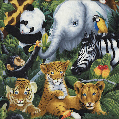 Baby Animals Zoo Elephants Tigers Pandas Monkeys Quilt Fabric FQ or Metre *New*