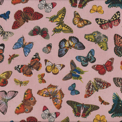 Butterflies on Pink Springtime in Paris Quilting Fabric FQ or Metre *New*