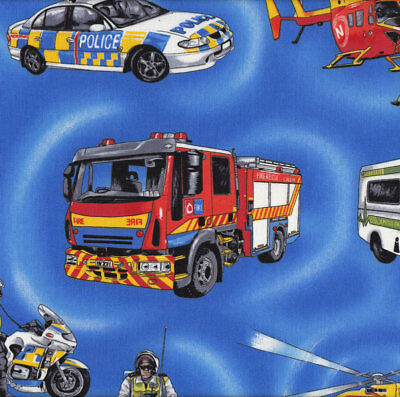 Emergency Safety Police Car Helicopter Fire Engine on Blue Quilt Fabric FQ or Me