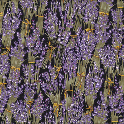 Lavender Flowers on Black Floral Quilt Fabric FQ or Metre *New*