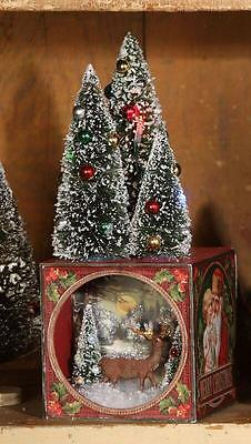 Bethany Lowe Lighted Traditional Christmas Shadowbox Deer Bottle Brush Trees