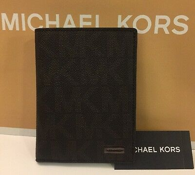 Michael Kors Jet Set Men's Pvc Mk Sig. Passport Card Holder  In Brown,nwt