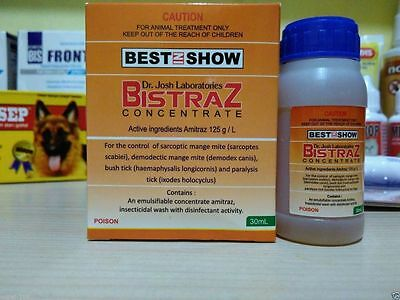 BISTRAZ Amitraz 12.5% for Mange Mites Demodetic Scabies Fleas and Tick in Dogs