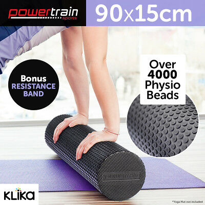 90x15cm EVA PHYSIO FOAM AB ROLLER YOGA PILATES EXERCISE BACK HOME GYM MASSAGE BK
