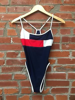 Vintage 90s Swimsuit One Piece Womens Blue Red Color Block Cutout (896)