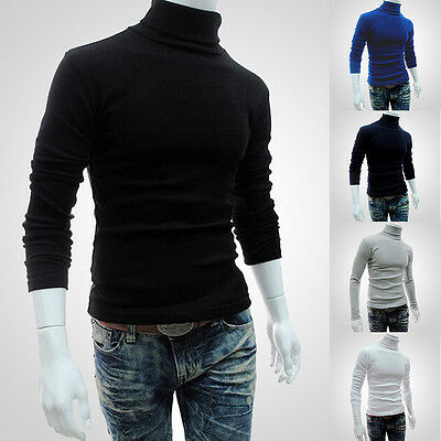 Mens Thermal Cotton Turtle Polo Neck Skivvy Turtleneck Sweaters Stretch Shirt