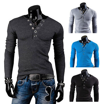 Neuf Mode Homme T-shirt Col V Annulaire Ppopper Ponçage Fin Haut Manches Longues