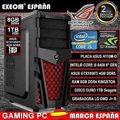 ORDENADOR PC GAMING INTEL CORE i5 6400 6ª GEN ASUS GTX1050 4GB DDR5 8GB DDR4 1TB