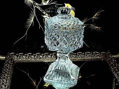 Gorgeous Footed & Lidded Pressed Glass / Crystal? Bon Bon Dish