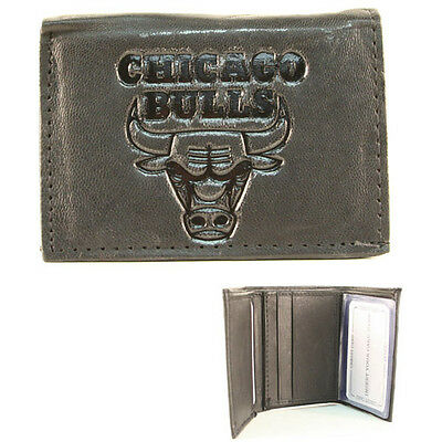Chicago Bulls Black Leather Tri-fold Wallet