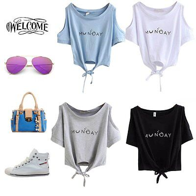 Women Summer Sexy Off Shoulder Crop Tops Tank Ladies T-Shirt Loose Casual Blouse