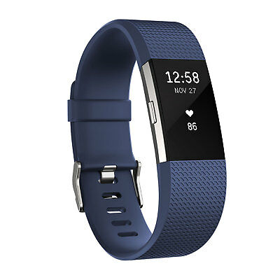 Fitbit Charge 2 Blue/Silver Size Large
