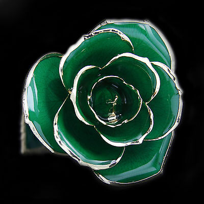 Genuine Green Rose Preserved Lacquer Dipped 24K Gold Long Stemmed in Gift Box