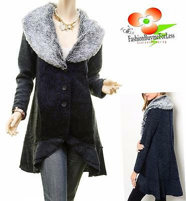 Vintage Faux Fur Wool Ruffle Hem Embroidered Cardigan Sweater Jacket Trench Coat