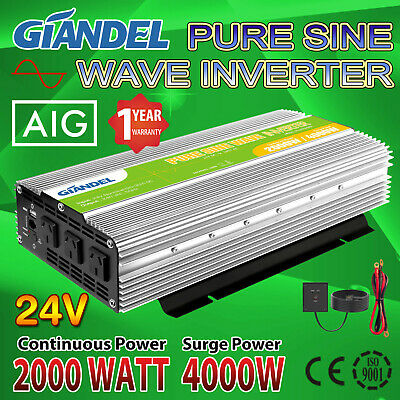 Pure Sine Wave Power Inverter 2000W/4000W Max 24V-240V+Remote Control 4.5M Cable