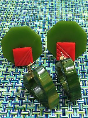 Lot Of 2 Green Bakelite Earrings~ Marblelized Hoops, Circle W/ Red Square