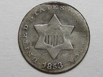1853 THREE Cent 3c US Silver Coin (Glue on Rev.).  #3