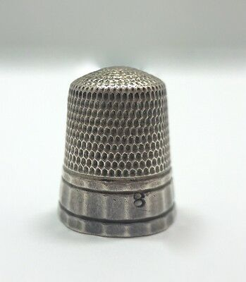 Antique Simon's Brothers Paneled Sewing Thimble Size 8 Sterling Silver 925 FMGE