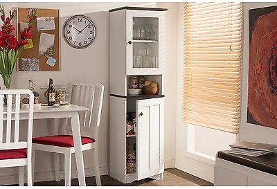 Modern Two-Tone White And Dark Brown Buffet And Hutch Kitchen Wood Frame Cabinet