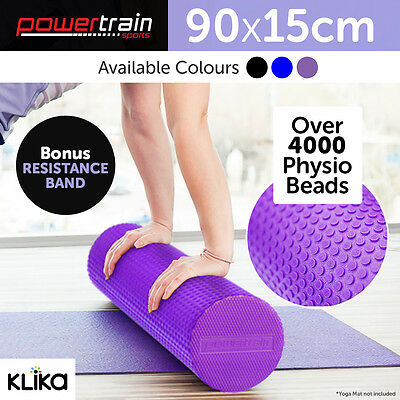 90x15cm EVA PHYSIO FOAM ROLLER YOGA PILATES EXERCISE BACK HOME TRIGGER MASSAGE